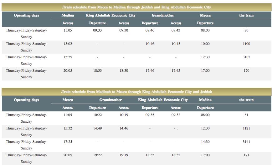 Haramain train schedule